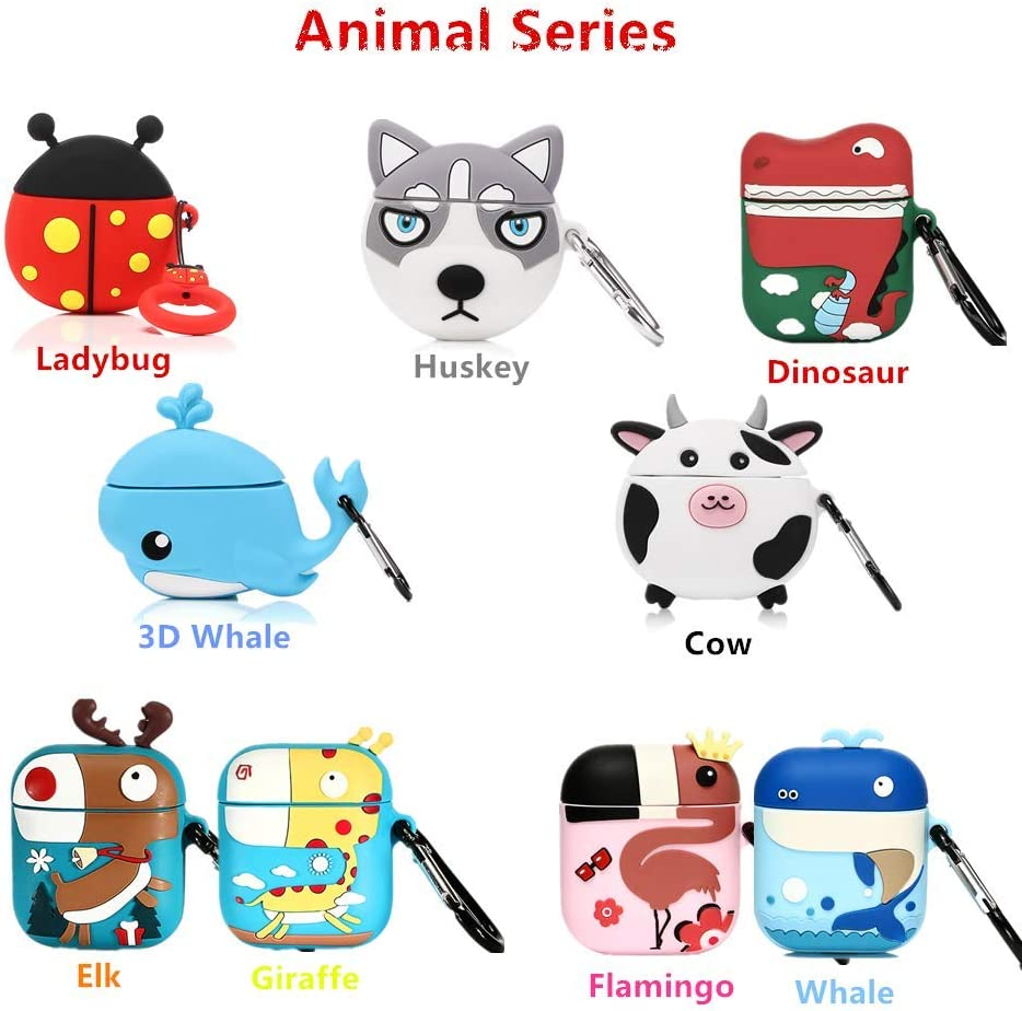 Elk 1 Pack LEWOTE Airpods Silicone Case Cover Compatible for Apple Airpods 1/&2 Best Gift for Girls or Couples Animal Design