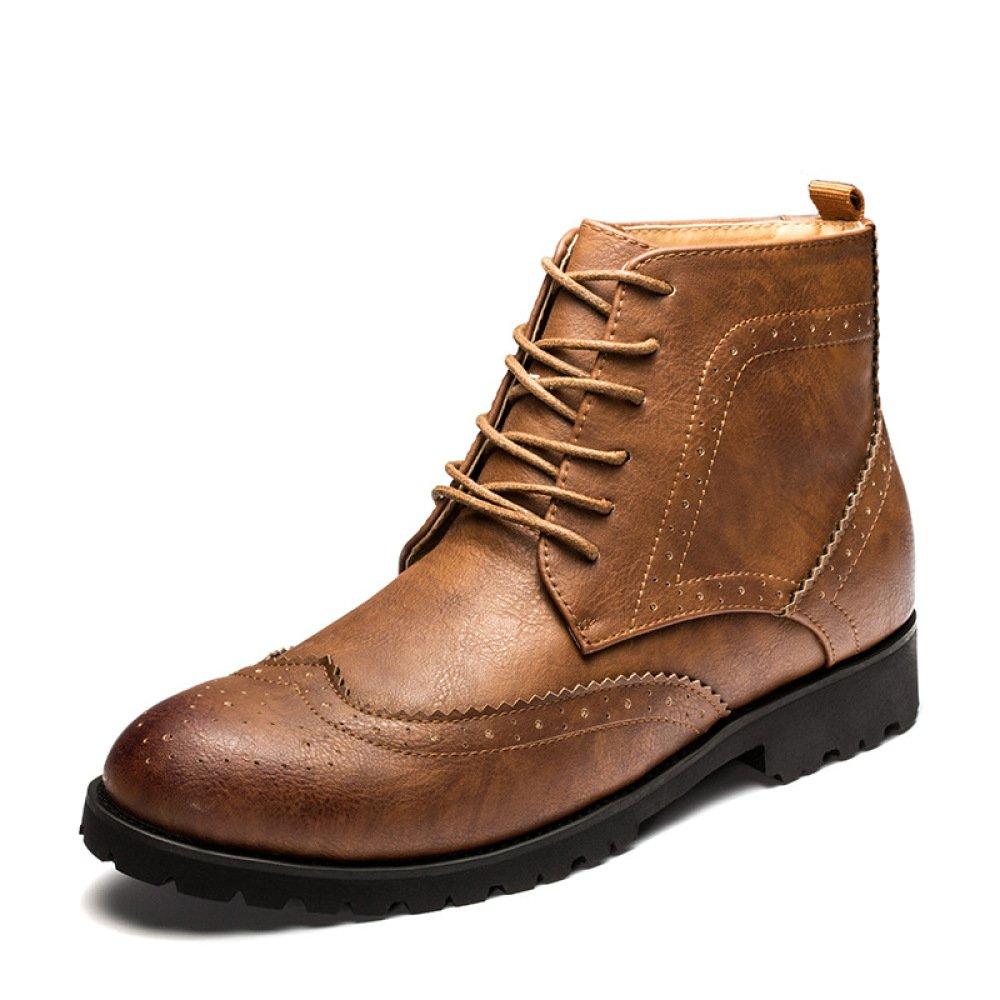 LYZGF Männer Jahreszeiten Lässig Mode Broch Retro Spitze Lederstiefel
