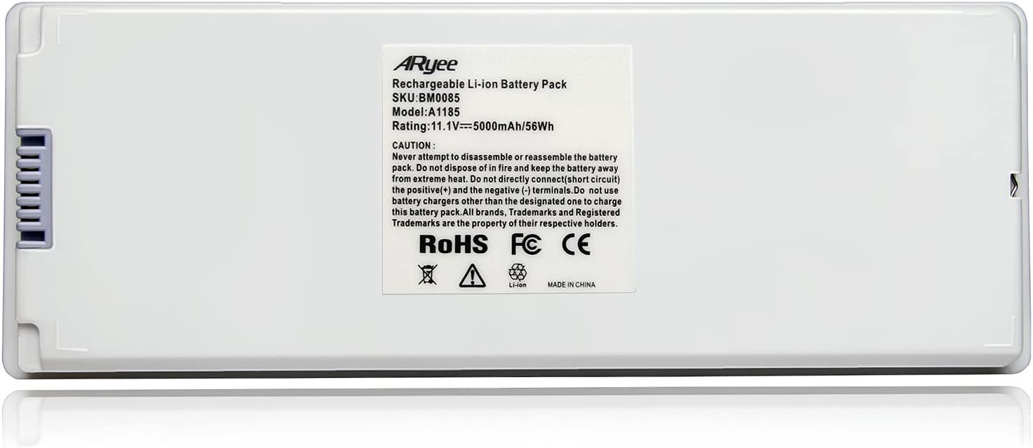 "ARyee A1185 Battery Compatible with Apple MacBook 13"" A1185 A1181, Fit MA254 MA255 MA699 MA700 MB061/A MB062/A MB402/A MB403/A(5000mAh 11.1V)"
