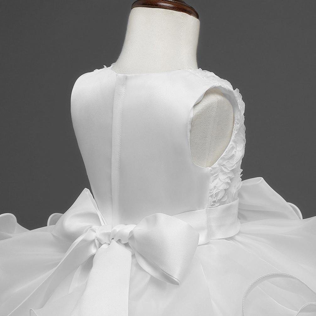 FEITONG Little and Bigger Girls Flower Birthday Wedding Princess Dress Christmas Dress (3Year, White) by FEITONG (Image #8)