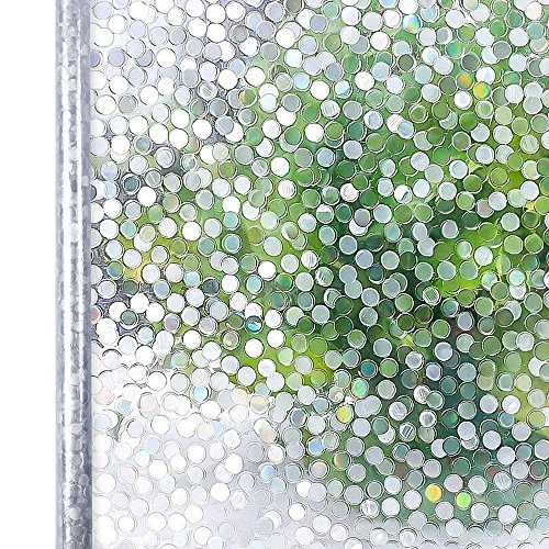Homein Window Films Decorative Film No Glue Static Cling Film Circles Parttern Glass Film Window Art Film for Home Kitchen & Office Bedroom Living Room,17.7In. by 78.7In. (45 x 200Cm) by Homein