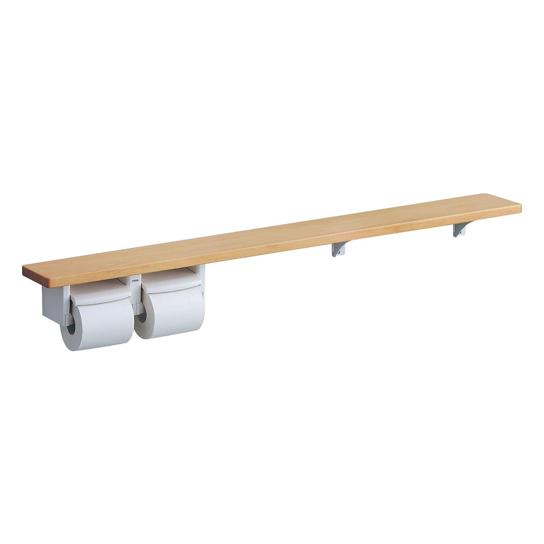 TOTO 天然木手すり 61シリーズ 二連紙巻器 棚付き 棚幅60cm ミルベージュ YHB61NC#MLW B00ZQBD6MC ミルベージュ 棚幅60cm