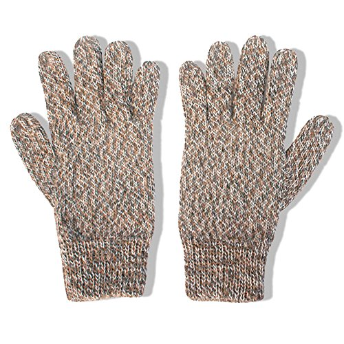 (The Alpaca Collection, 100% Alpaca Wool Knit Gloves Beige/Gray/Ivory Large)