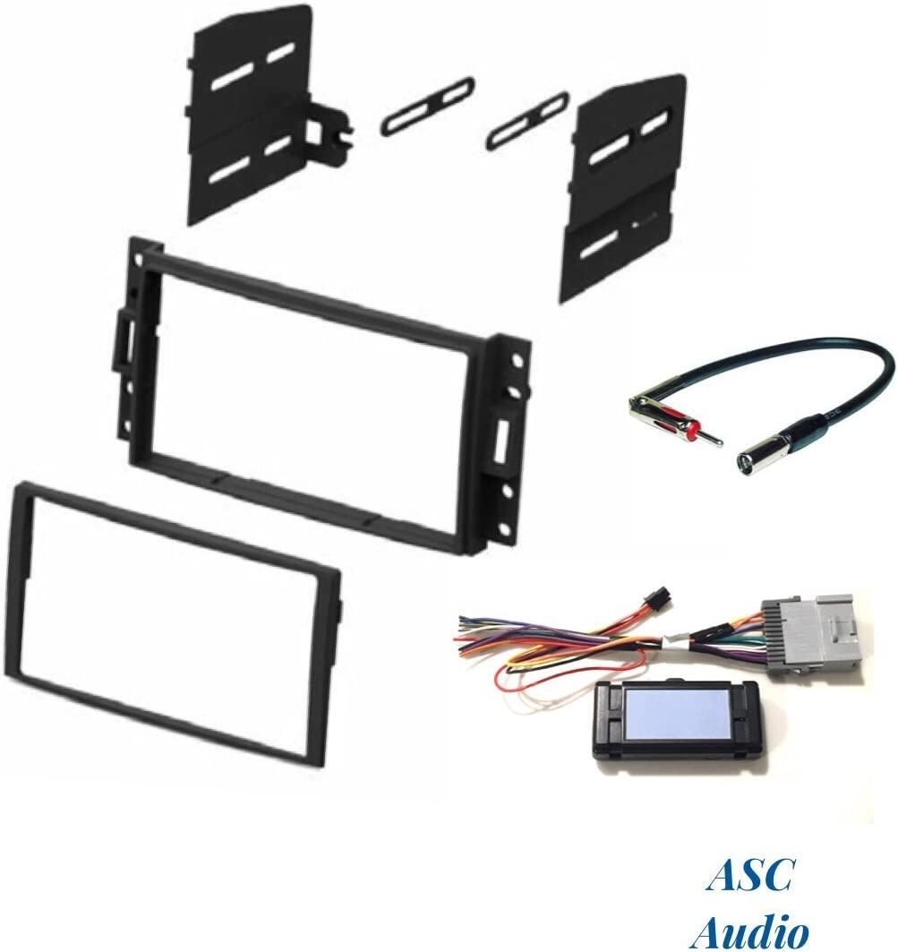 Wire Harness ASC Audio Car Stereo Dash Kit and Antenna Adapter to Add a Double Din Radio for some Buick Chevrolet GMC Hummer Isuzu Oldsmobile Pontiac Other