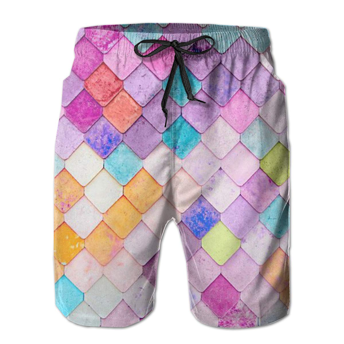 DHVJBC Mens Colored Fish Scales Summer Holiday Quick-Drying Swim Trunks Beach Shorts Board Shorts