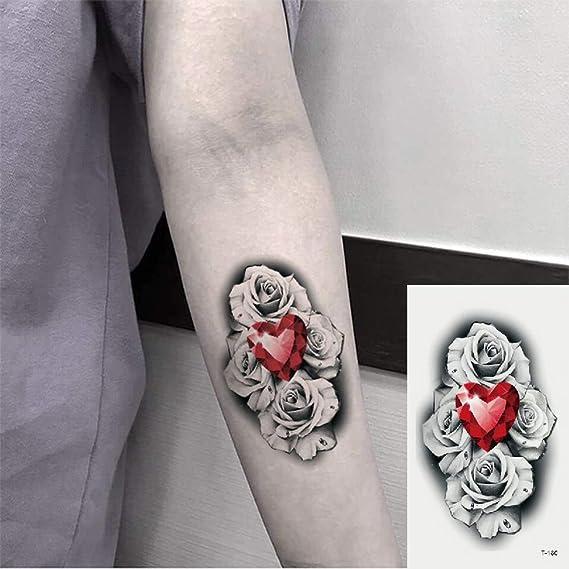 Oottati 2 Hojas Pequeño Lindo Tatuaje Temporal Tattoo Flor Roja ...
