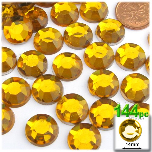 The Crafts Outlet 144-Piece Flatback Round Rhinestones, 14mm, Golden Yellow