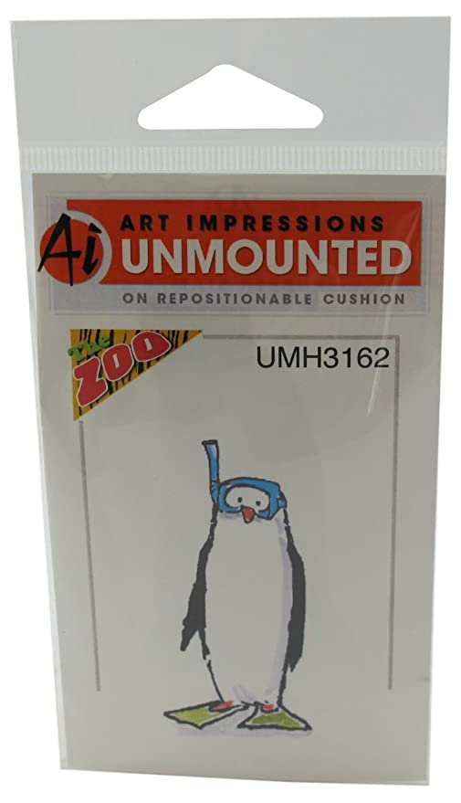 PENGUIN Snorkler Cling Unmounted Rubber Stamp Art Impressions UMH3162 NEW