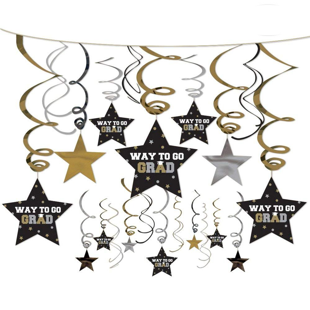 PROPARTY Graduation Star Foil Ceiling Hanging Swirl Decorations Party Streamers for Graduation Party Decorations 30 Counts