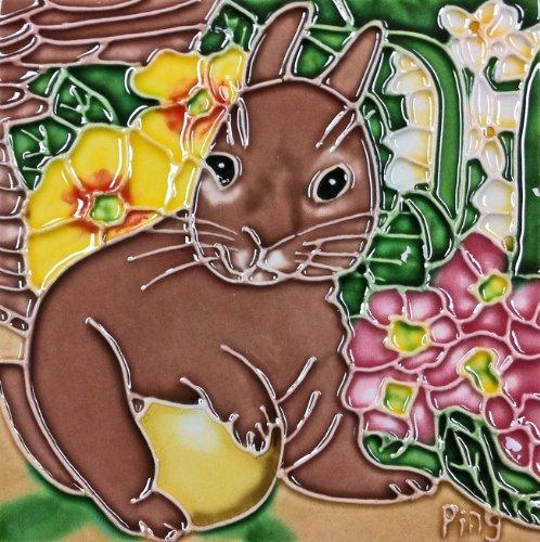 Continental Art Center SD-080 4 by 4-Inch Rabbit Ceramic Art Tile -