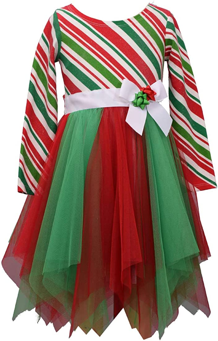 Bonnie Jean Christmas Santa Red Holiday Fur Dress 2 pc set Little Girls 2T-6X