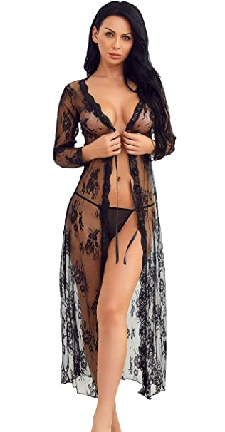 83b41602c20 Women Lingerie Robe Long Lace Dress Sheer Gown See Through Kimono Nightwear( Black