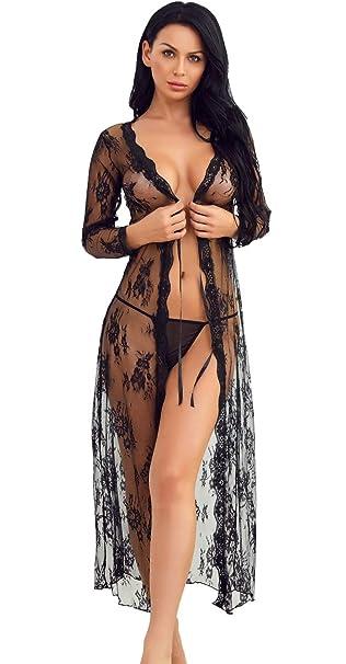 7e00544bd06 Women Lingerie Robe Long Lace Dress Sheer Gown See Through Kimono  Nightwear(Black