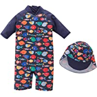 Baby Boys Swimsuit Toddlers Sun Protective One Piece Swimwear With Hat Fish Rash Guard Surfing Suit UPF 50+