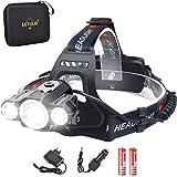 Headlight & Bike Light 2 in 1, LETOUR LED Headlamp 1800 Lumen, CREE Rechargeable Head Lamp, Waterproof Flashlight, Dismountab