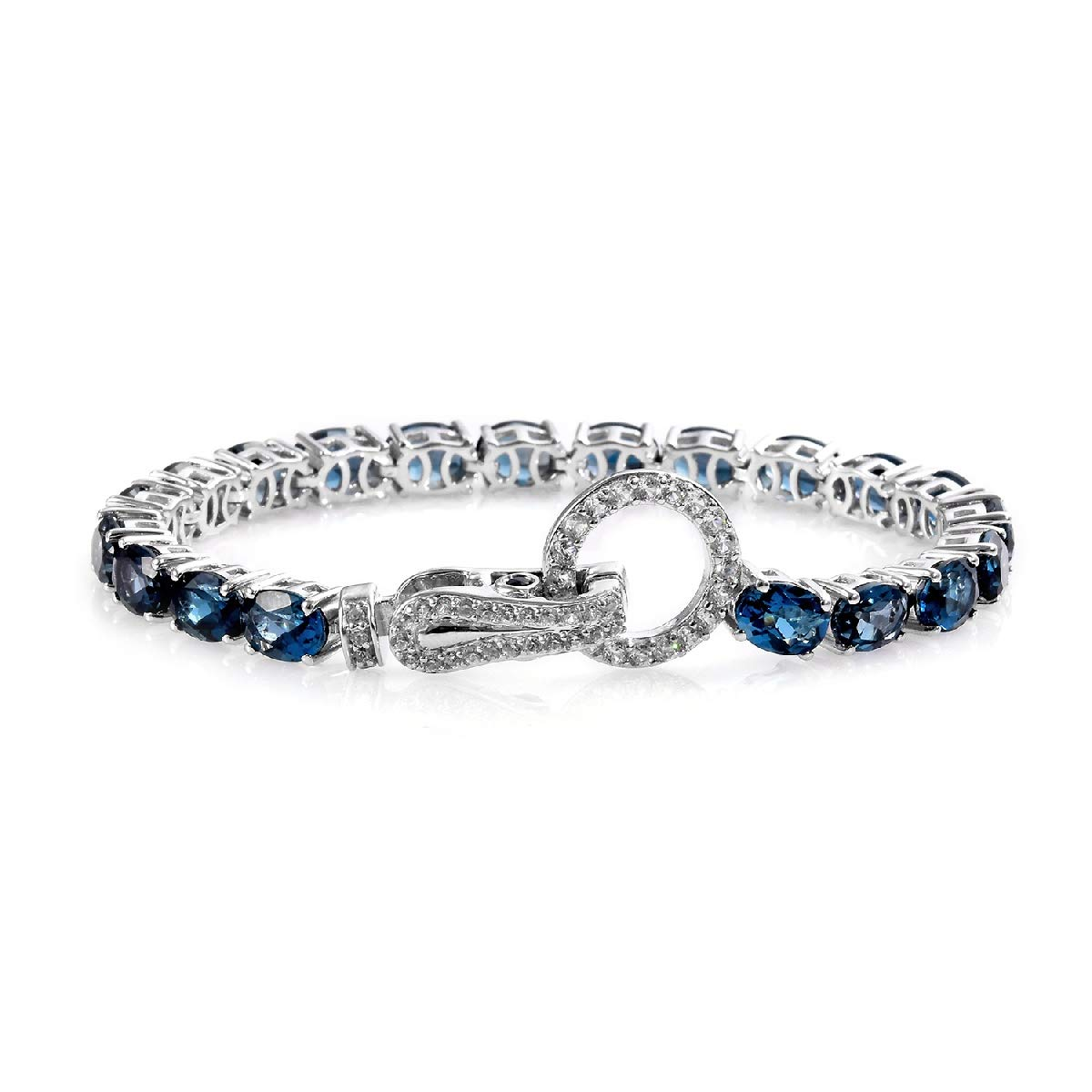 Line Tennis Bracelet 925 Sterling Silver Platinum Plated Blue Topaz Blue Sapphire Jewelry for Women Size 6.5'' Ct 16.1 by Shop LC Delivering Joy