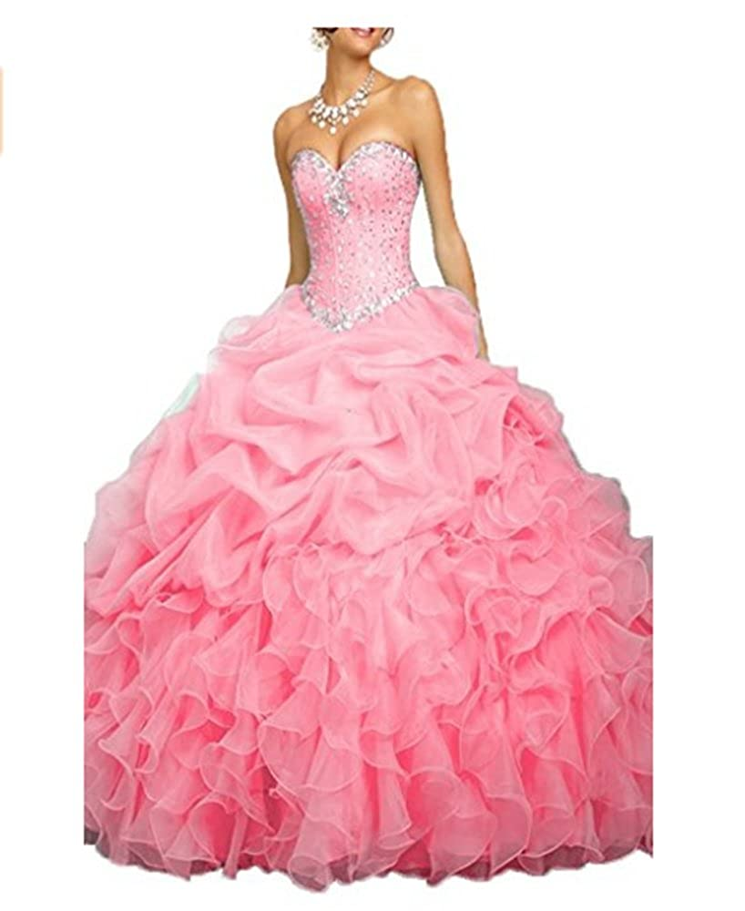 Pink ANGELA Women's Ball Gown Organza Quinceanera Dresses Prom Gowns