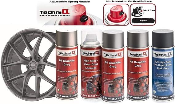 Techniq Gt Graphitgrau Metallic Felgenlack Set 3 X 400 Ml Dosen Hochglanz Klarlack Dunkelgrauer Etch Grundierung Auto