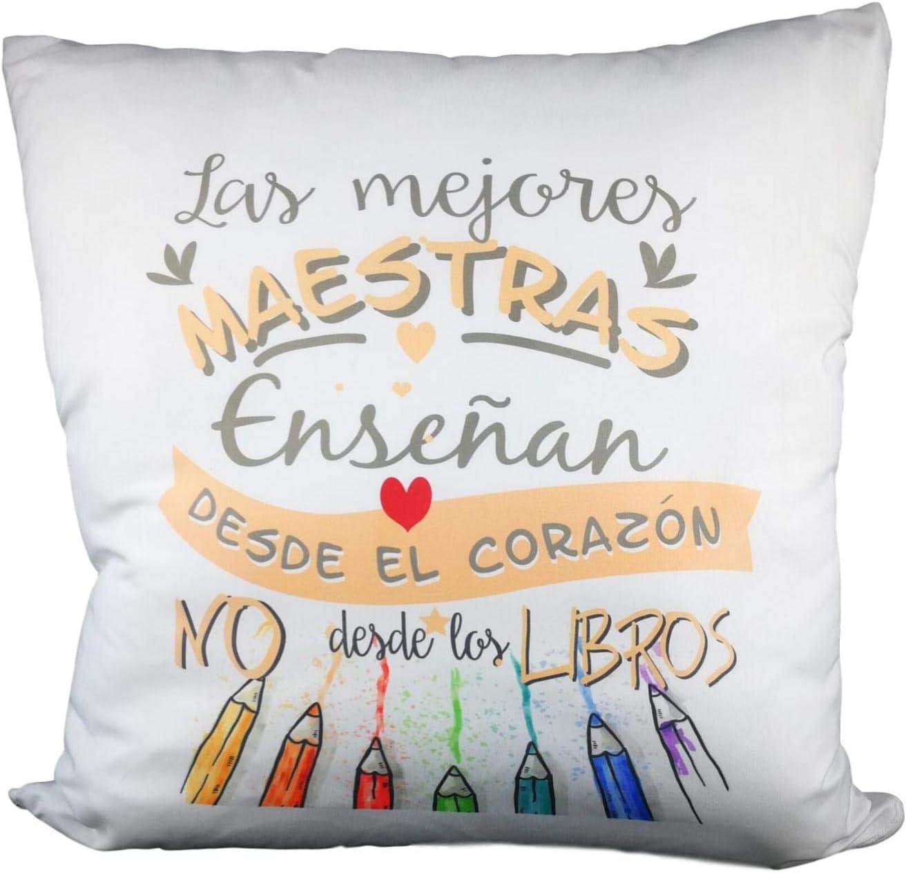 MISORPRESA Cojin Mensaje Mejores maestras enseñan Desde el Corazon. Regalo Profesora: Amazon.es: Hogar
