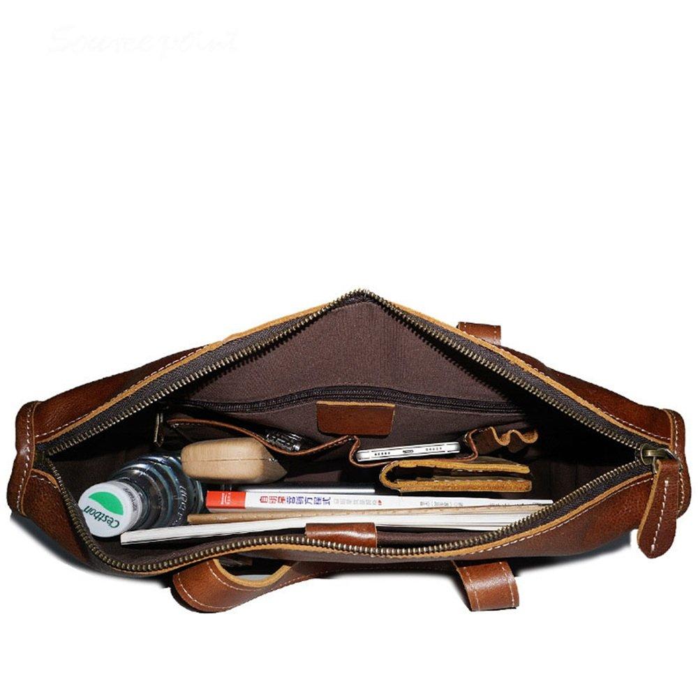 DNSJB herr portfölj av läder stor axelväska axelväska messenger bag retro crossbody 33 cm bärbar handväska (färg: Coffee Color) Kaffefärg