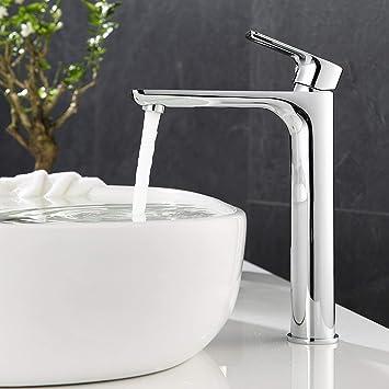 Ubeegol Messing Chrom Wasserhahn Bad Hoch Waschtischarmatur Hoher