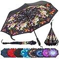 Repel Reverse Folding Umbrella with 2 Layered Teflon Canopy and Reinforced Fiberglass Ribs