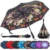 Repel inversa Plegable Paraguas invertido con 2Capas de teflón toldo y Varillas de Fibra de Vidrio Reforzado