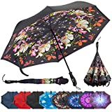 Repel Reverse Folding Inverted Umbrella with 2 Layered Teflon Canopy and Reinforced Fiberglass Ribs (Flower Bouquet)