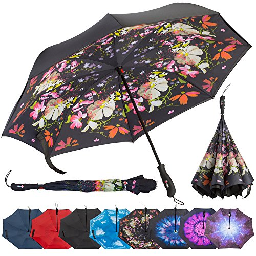 (Repel Reverse Folding Inverted Umbrella with 2 Layered Teflon Canopy with Reinforced Fiberglass Ribs (Flower Bouquet))