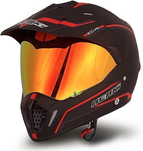 Dual Sport Helmet by NENKI Full Face Motocross & Motorcycle Helmets Dot Approved With Iridium Red Visor Attached Clear Visor NK-310 (L, Matt Black & ...