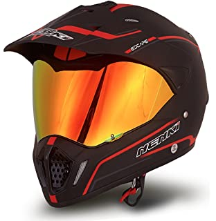Dual Sport Helmet by NENKI Full Face Motocross & Motorcycle Helmets Dot Approved With Iridium Red