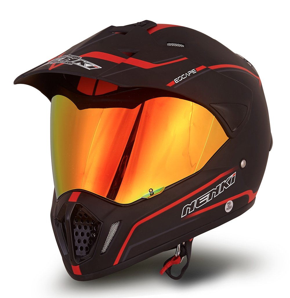 NENKI Dual Sport Helmet Full Face Motocross & Motorcycle Helmets Dot Approved Iridium Red Visor Attached Clear Visor NK-310 (XL, Matt Black & Red)