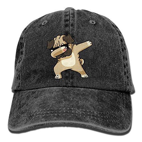 OHMYCOLOR Dabbing Sunglasses Pug Dog Pet Denim Adjustable Baseball Caps For Mens Womens Coolest Hip Hop Trucker Hats - Mens Coolest Sunglasses