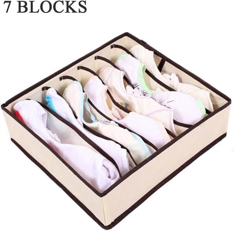4 sizes beige Fyore Kit de prueba de humedad organizador de bamb/ú ropa interior caja plegable caj/ón organizador de separador de almacenamiento grande 4/unidades