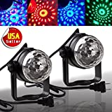 2 PCS LED RGB Party Lights, AUTOSAVER88 3W Magic Ball Disco DJ Stage Projection Lamp Sound Activated MP3 Auto Color Change and Rotate with Handel/Stand