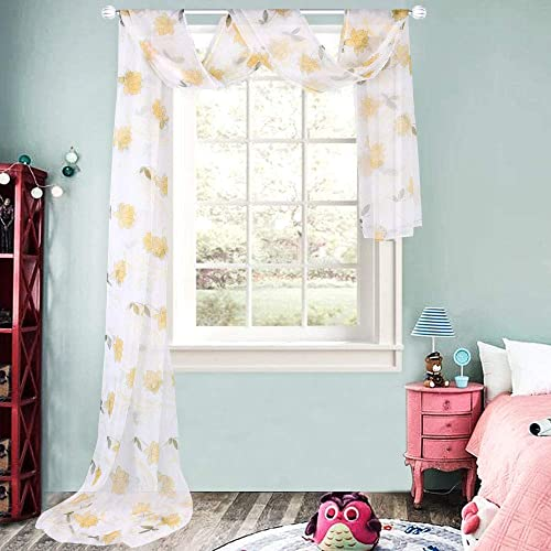 HUTO Yellow Flowers Sheer Window Scarf 216 Inches Extra Long Scarves Valance for Living Room 1 Panel 48W x 216L