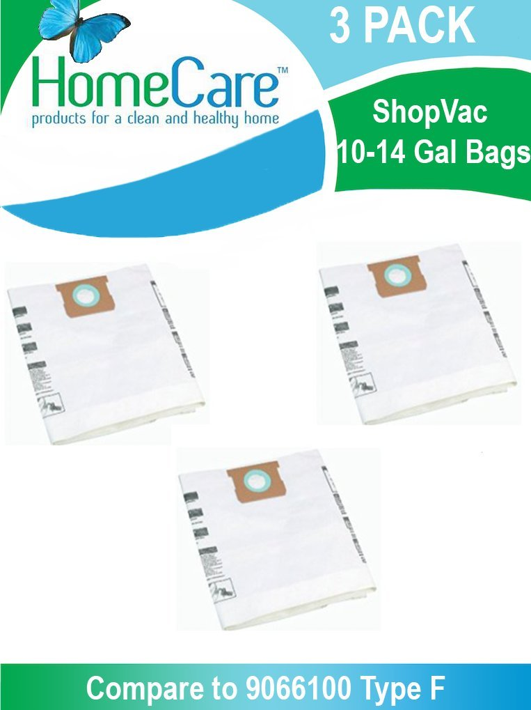 Shop-Vac 10-14 Gallon Bags 3 Pack | Shop-Vac # 9066200/ Type F | For use with Shop-Vac 10-14 Gallon Tanks with Inlet located on the Tank by HomeCareProducts