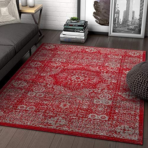 Well Woven Leslie Medallion Red Vintage Distressed Oriental Area Rug 5×7 5 3 x 7 3