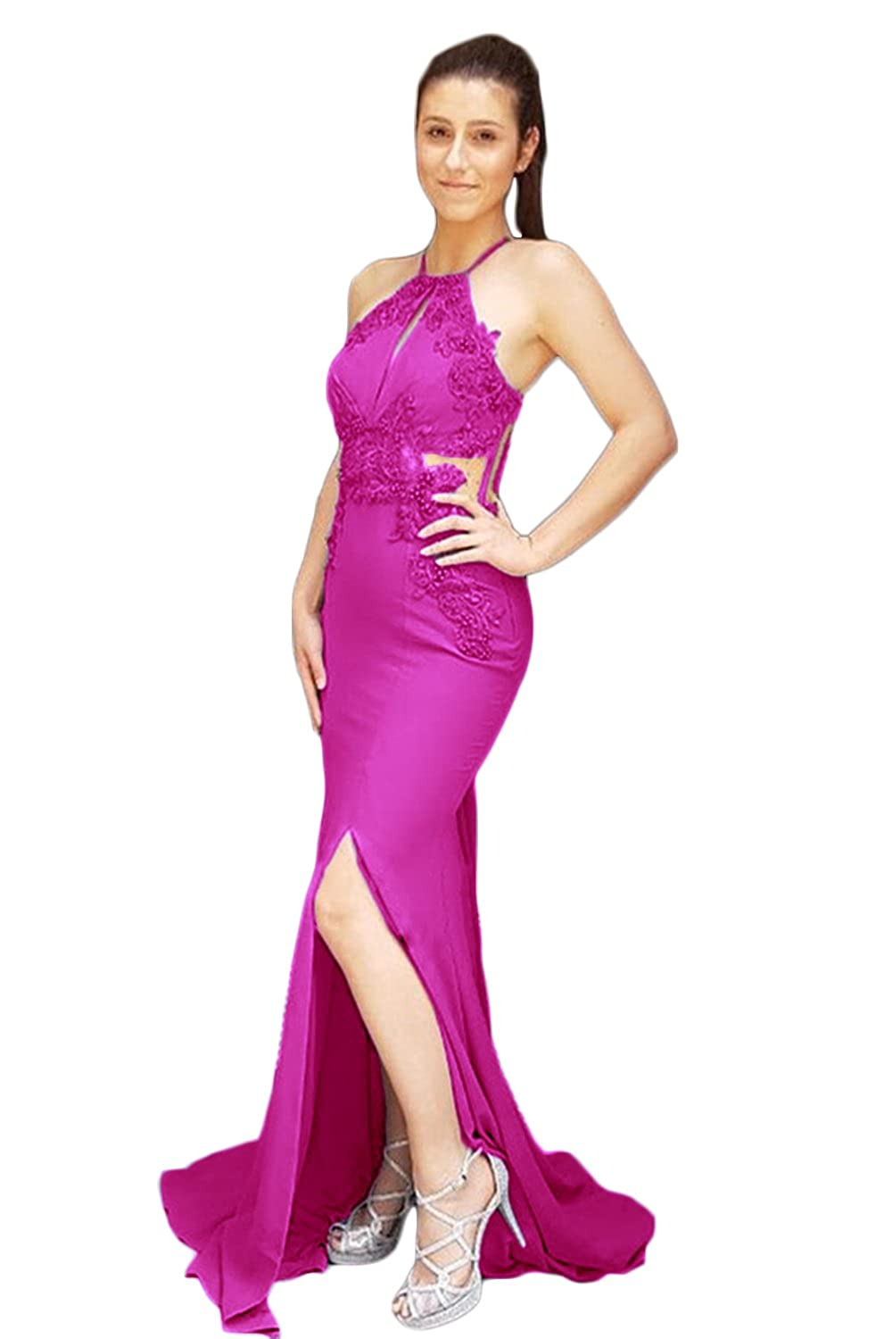Fuchsia CL Bridal Women's Lace Appliques Sheer Back Mermaid Formal Prom Dress Halter Slit Side Evening Gown