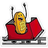 Stickeroonie Bitcoin Vinyl Sticker, Bitcoin on a Roller Coaster Ride, 4 x 4 Inches Size