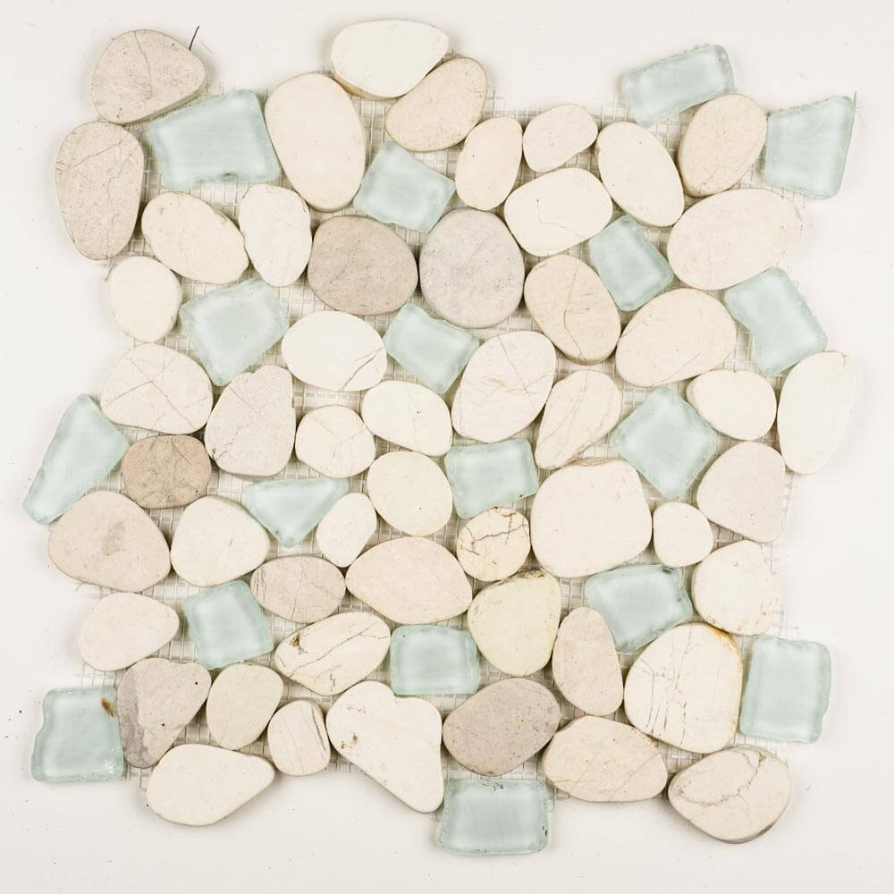 Stone Pebble Mosaic. Sea Glass Sea Foam