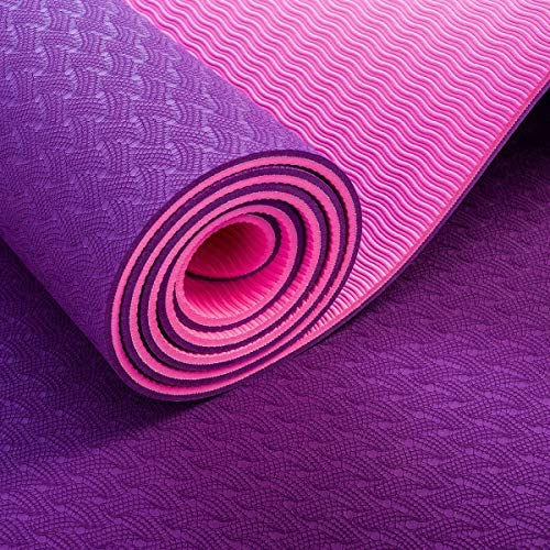Eco friendly ヨガ、ピラティス、ストレッチ、瞑想のための厚いノンスリッププリントスポーツパッド exercise (色 : Purple, サイズ : 185*80*0.6)