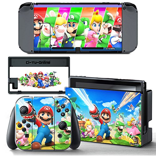 Price comparison product image Ci-Yu-Online VINYL SKIN [NS] Mario + Rabbids Kingdom Battle STICKER DECAL COVER for Nintendo Switch Console and Joy-Con Controllers