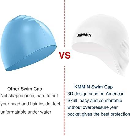 KMMIN Gorro de natación, Gorro de natación de Silicona Premium ...