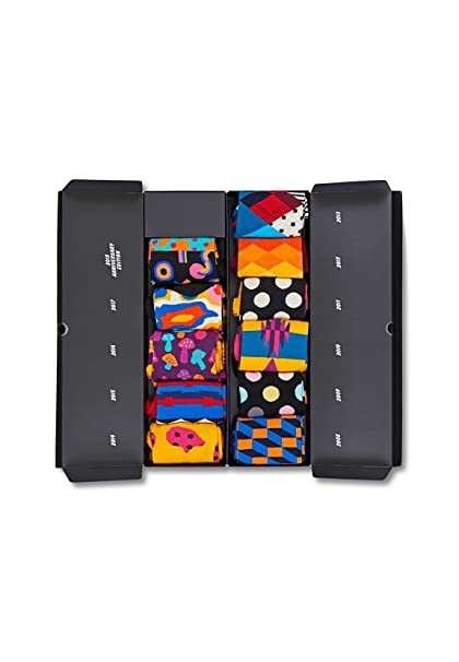 Happy Socks 10 Year Anniversary Gift Box, Calcetines para Hombre, (Schwarz 9000)