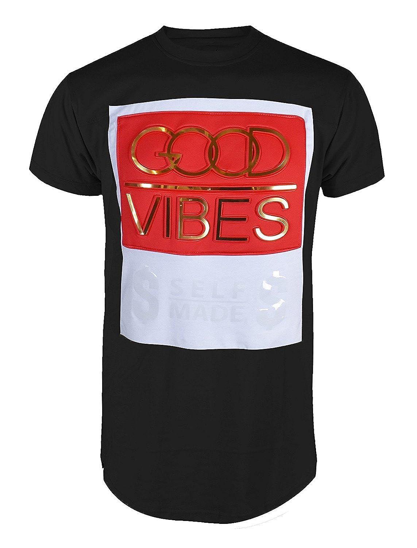 Mens Embossed Gold Print Hipster Tee Premium Urban Hip Hop Fashion