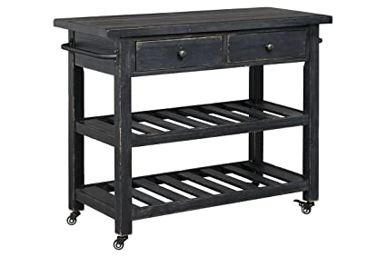 Genial Kitchen Serving Cart With Casters For Mobility, 2 Spacious Drawers And 2  Open Shelves,