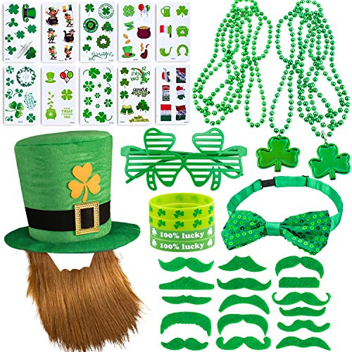 Whaline 97 Pcs St. Patrick's Day Party Favor Set with St. Patrick Hat, Green Mustaches, Lucky Bracelet, Eyeglass and Shamrock Necklace, Bow Tie and Tattoo Sticker for St. Patrick Irish Party Supplies Decorations ()