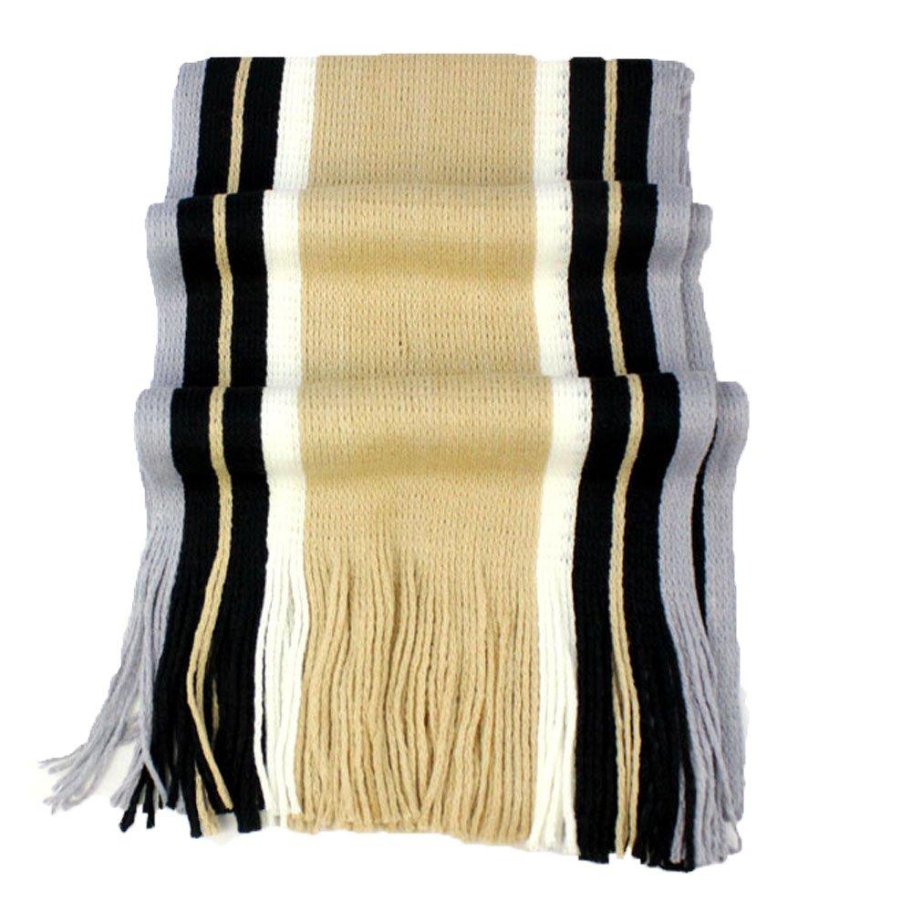 DDLBiz Man Fashion Retro EKorean Casual Warm Stripe Cashmeres Knitting Leisure Scarf Neck Warmer with Tassel DD-0276