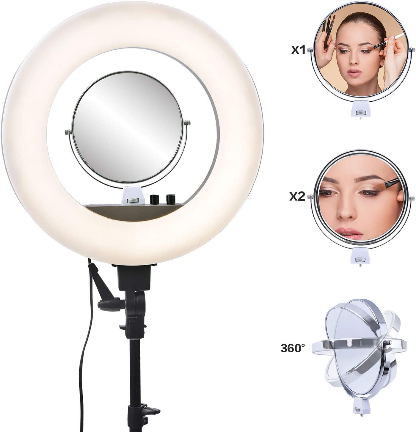 Portrait Photography Lighting Camera Makeup XIONGG 18 Dimmable LED Selfie Ring Light with Tripod Stand for Live Streaming